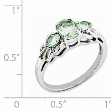 Sterling Silver Rhodium Oval Green Quartz Ring Size 7 - image 1 de 2