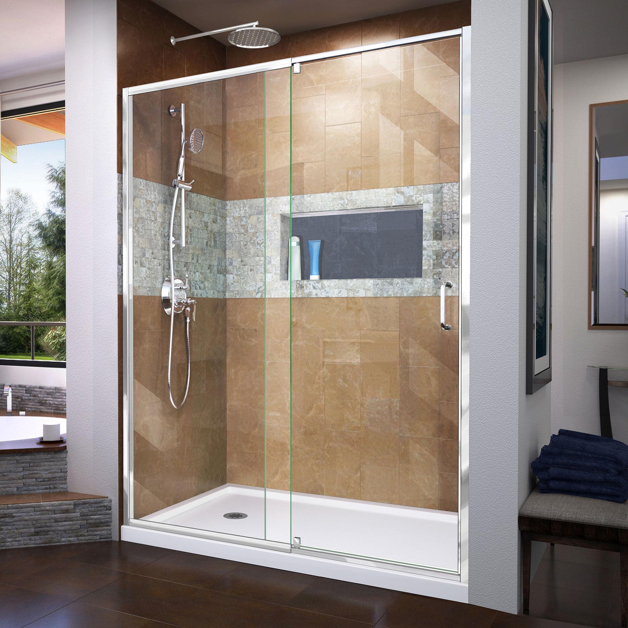 Dreamline Flex 34 In D X 60 In W X 74 3 4 In H Semi Frameless Pivot Shower Door In Chrome With Left Drain White Base Kit