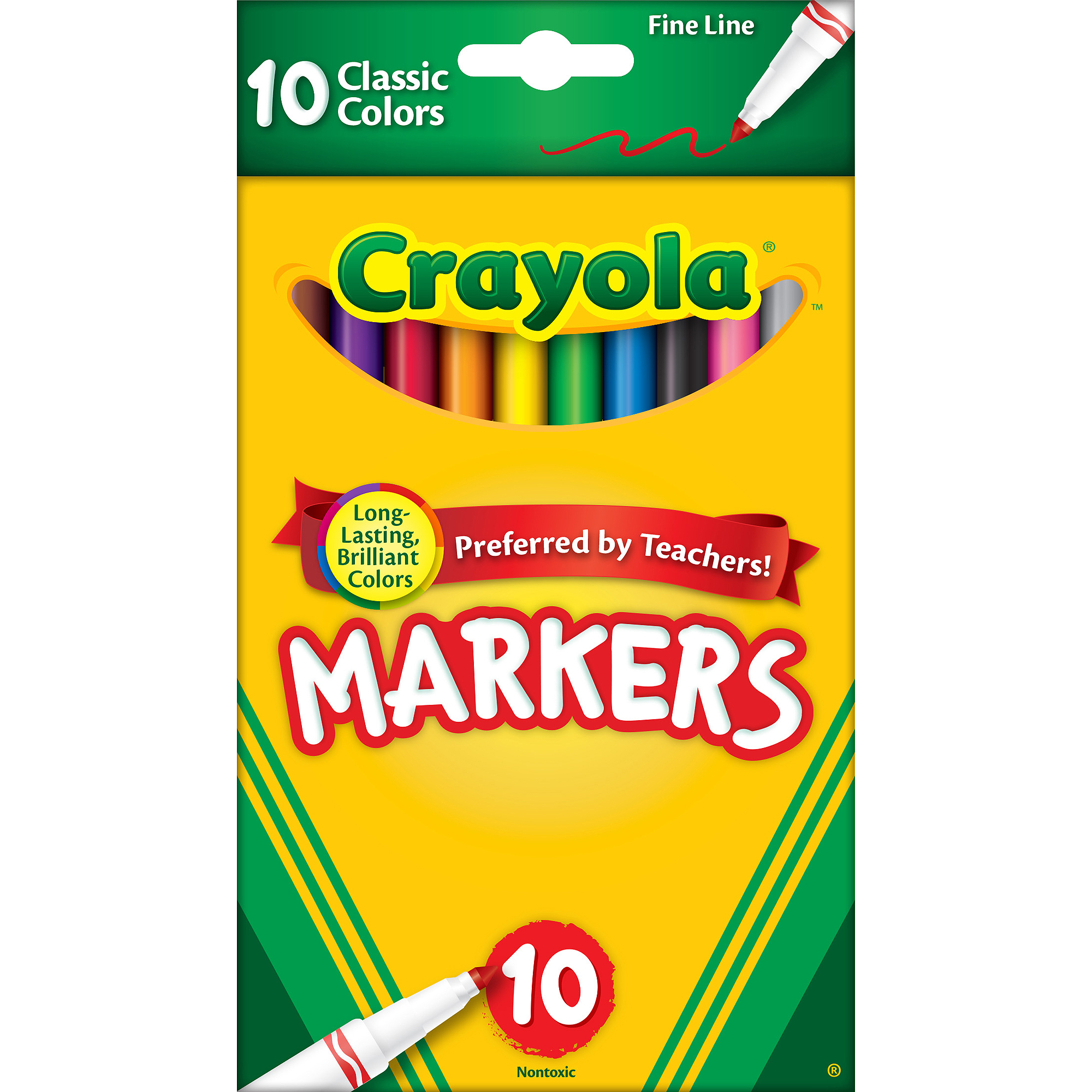 Crayola Classic Fine Line Markers, 10-Count