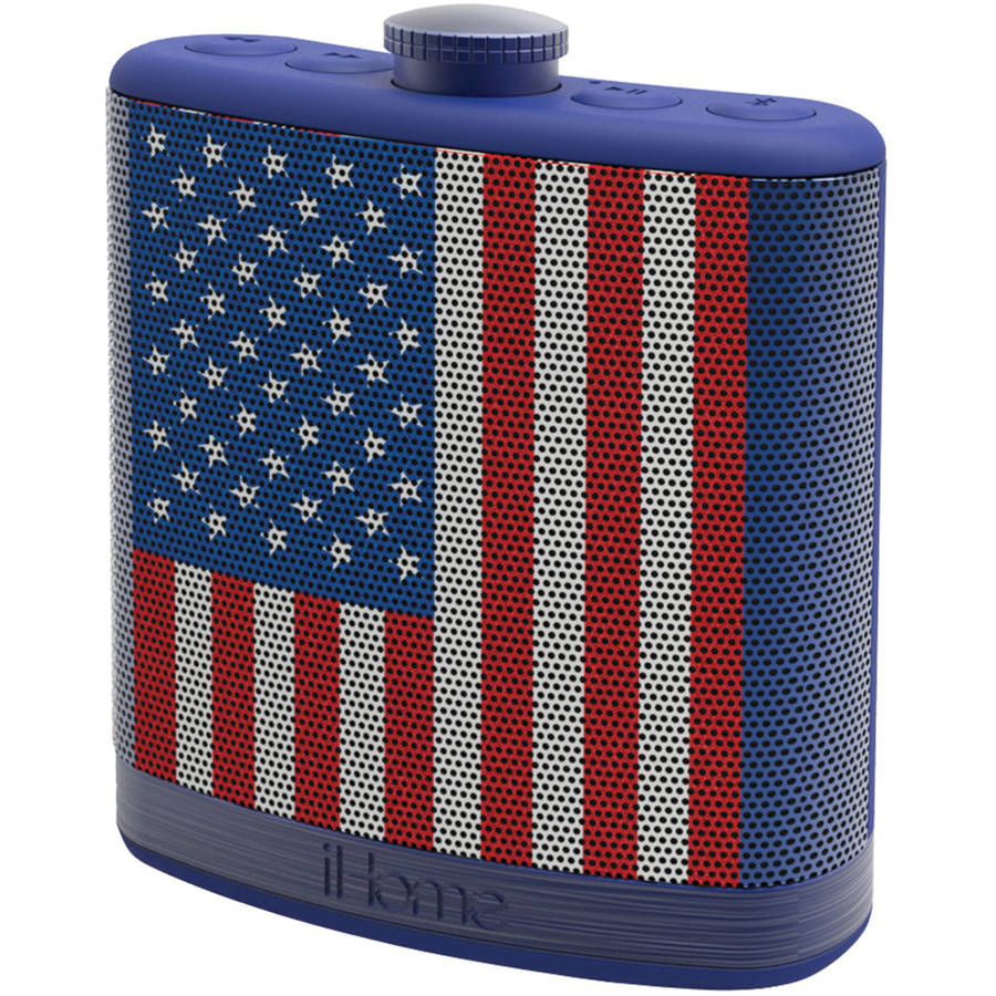 iHome Rechargeable Flask-Shaped Bluetooth Stereo Speaker with Custom Sound Case, Flag