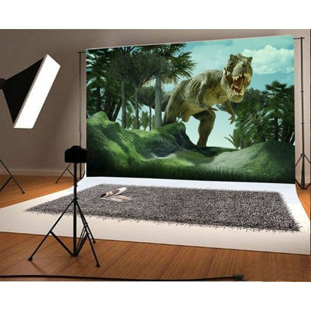 HelloDecor Polyster 7x5ft Photography Background 3D Giant Dinosaur Destory Park Scary Mouth Green Trees Hills Dinosaur Backdrop Children Baby Girls Photo Portrait Shoot Video Studio