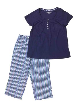 2dbf826a124 Product Image Womens Lightweight Blue Stripes Knit Pajamas Short Sleeve  Sleep Set. Croft   Barrow