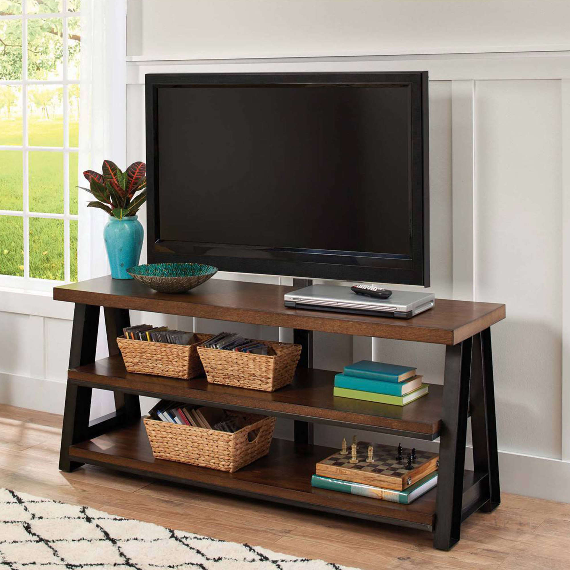 Better Homes and Gardens Mercer 3-in-1 Brown TV Stand for TVs up to 70