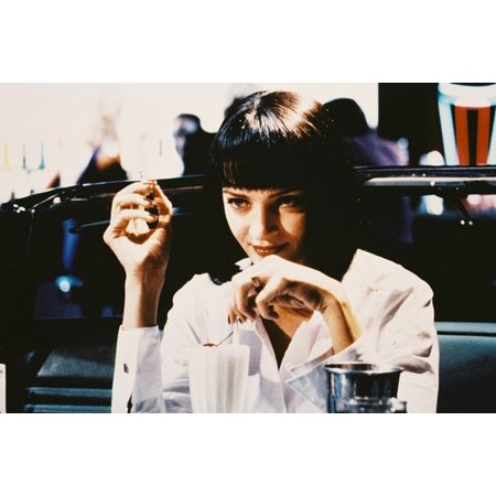 Uma Thurman Pulp Fiction seated in diner as Mia Wallace 24X36 Poster - Mia Wallace