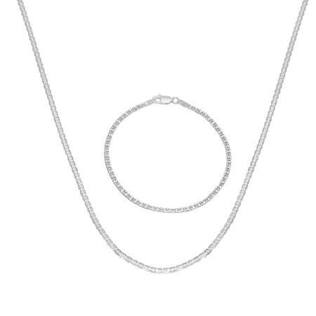 1.8mm .925 Sterling Silver Mariner Chain + Bracelet Set, 20' (Necklace) + 8' (Bracelet) + Jewelry Cloth & Pouch
