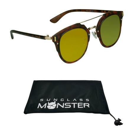 - Metal Brow Bar Tortoise Shell Brown Womens Sunglasses with Flat Orange Mirror Lenses