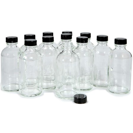 Vivaplex 12 Clear 4 oz Glass Bottles with Lids Heisey Clear Glass
