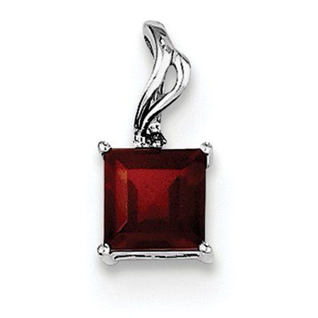 Sterling Silver Rhodium Plated Diamond & Garnet Square Pendant. Gem Wt- 0.73ct