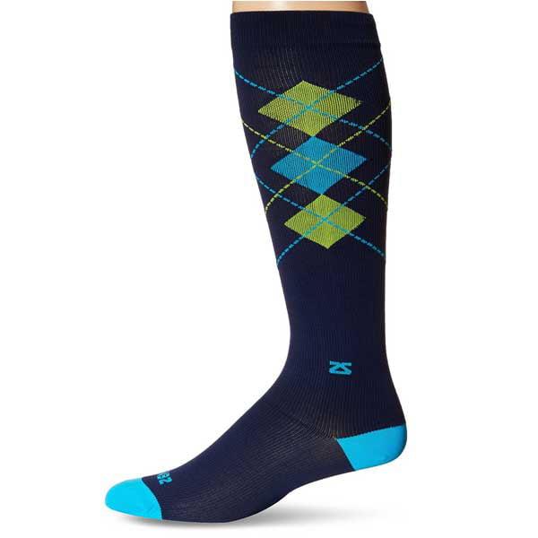 Fresh Legs Unisex Classic Argyle Comp Socks-NVY/TURQ-Sm