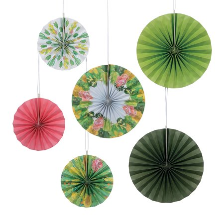 Fun Express - Cactus Shower Printed Hanging Fans (6pc) for Wedding - Party Decor - Hanging Decor - Misc Hanging Decor - Wedding - 6 Pieces