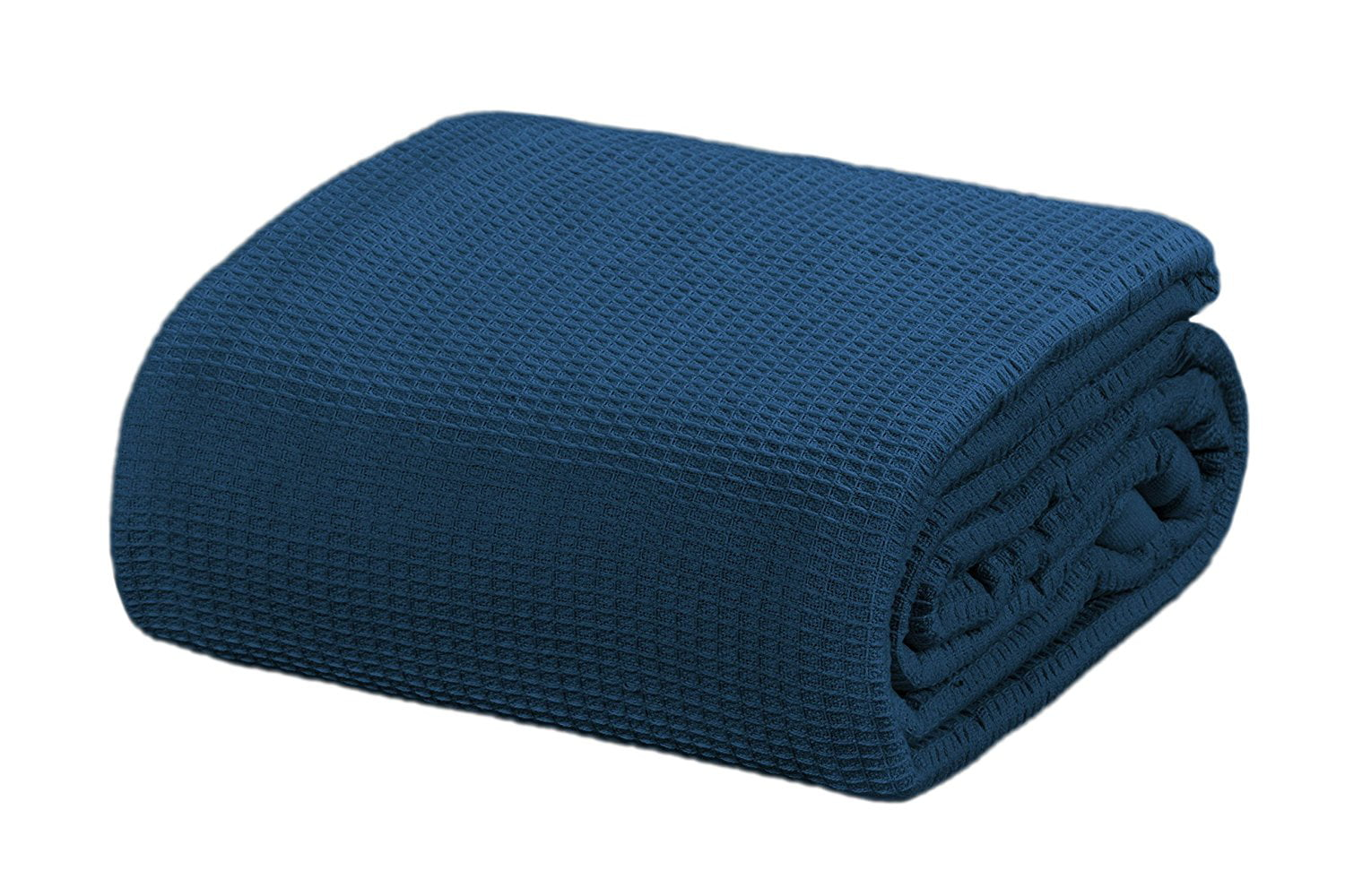 Crover All Season Thermal Waffle Cotton Twin Blanket Deep Blue by