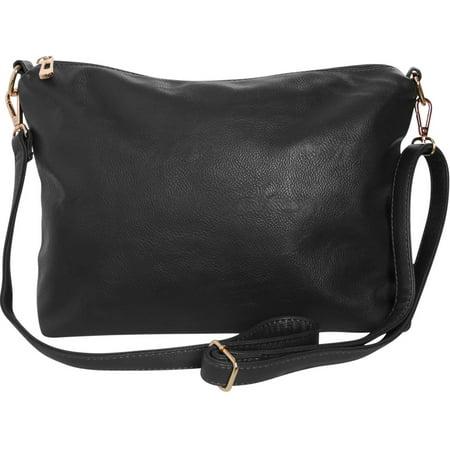 Leather Mesh Shoulder Bag (Crossbody Bag - Vegan Leather Satchel Messenger Hobo Handbag Shoulder Purse, Black - 14 inch, by Humble Chic)