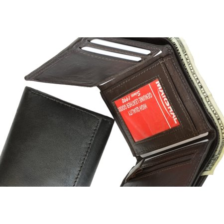 - Genuine Soft Leather Tri-fold ID Coin Credit Card Holder Mens Wallet 536 (C) Black