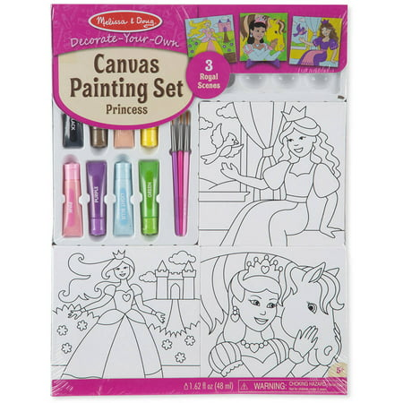Melissa & Doug Canvas Painting Set: Princess - 3 Canvases, 8 Tubes of Paint