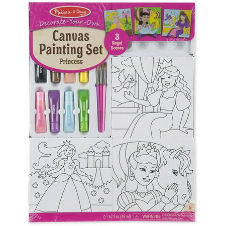 Melissa & Doug Canvas Painting Set: Princess - 3 Canvases, 8 Tubes of Paint