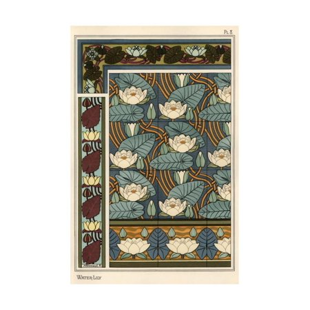 The water lily, Nelumbo lutea, in wallpaper and tile patterns. Lithograph by Verneuil. Print Wall Art