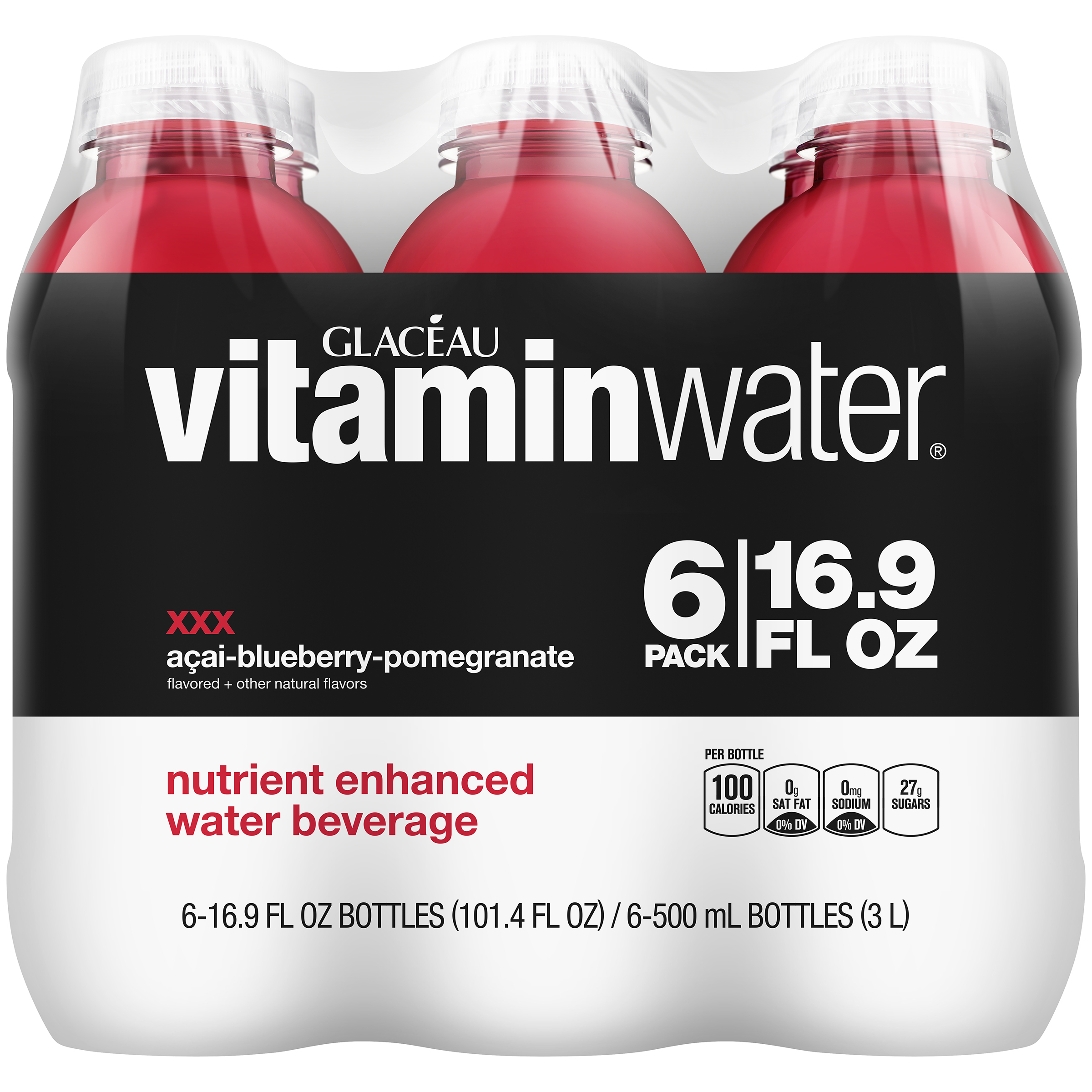 Vitaminwater Xxx Acai-Bluebery-Pomegranate, 16.9 Fl Oz, 6 Count