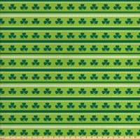 Green Fabric by The Yard, Traditional Irish Pattern Clovers Happy St. Patrick's Day Theme, Decorative Fabric for Upholstery and Home Accents, by Ambesonne