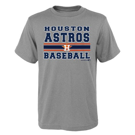 MLB Houston ASTROS TEE Short Sleeve Boys OPP 90% Cotton 10% Polyester Gray Team Tee 4-18