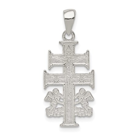 Cara Vaca Crucifix (925 Sterling Silver Caravaca Double Cross Religious Angels Crucifix Pendant Charm Necklace Angel Cara Vaca Gifts For Women For Her )