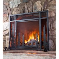 Mountain Cabin Small Fireplace Fire Screen with Door, Black