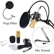 BM-800 Professional Studio Broadcasting Recording Condenser Microphone with Mental Shock Mount Phone Stand Filter and Sound Card (Black Gold)