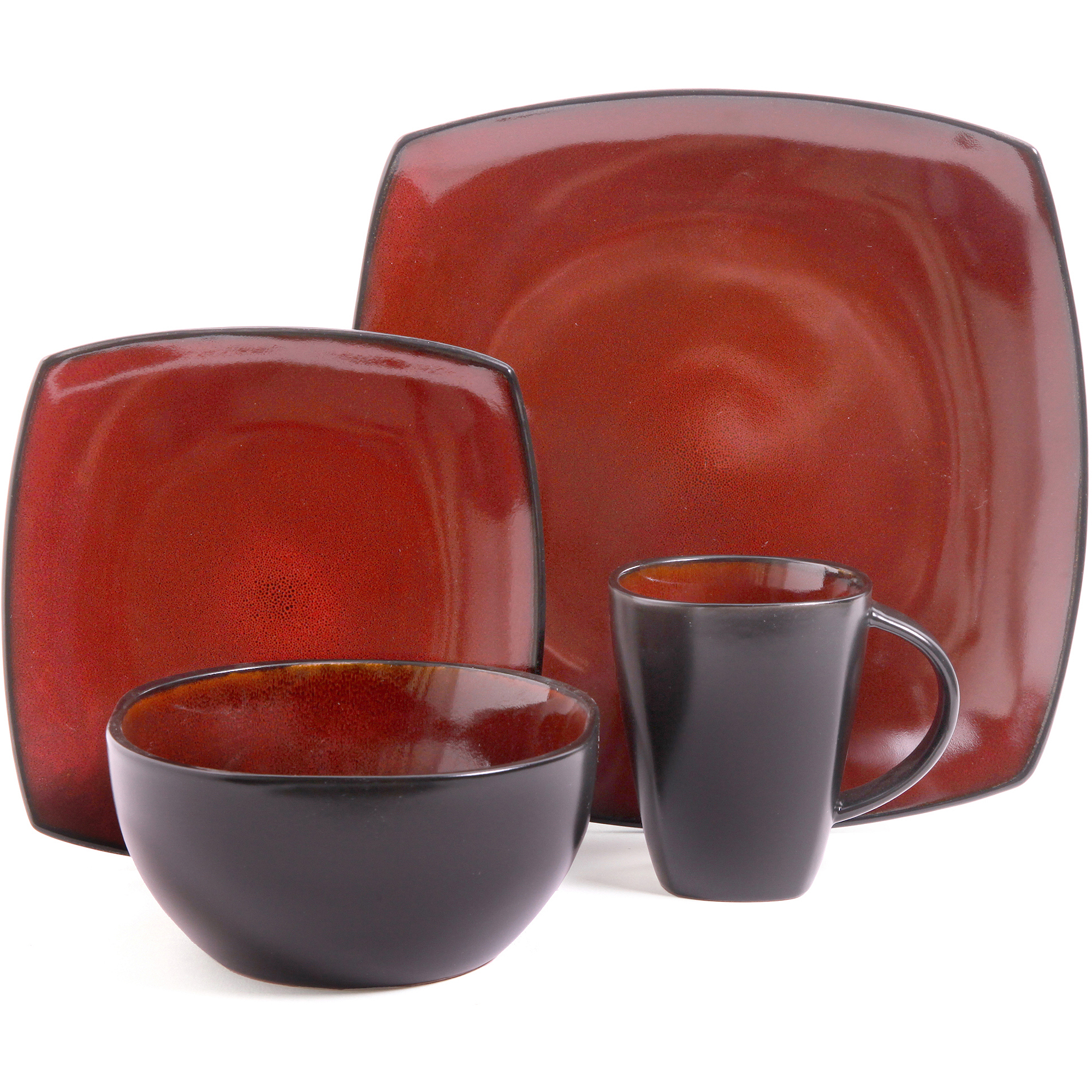 Better Homes And Gardens 16 Piece Dinnerware Set, Tuscan Red   Walmart.com