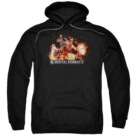 Mortal Kombat X Fighting Video Game Scorpion Flames Adult Pull-Over Hoodie (Flames Adult Sweatshirt)
