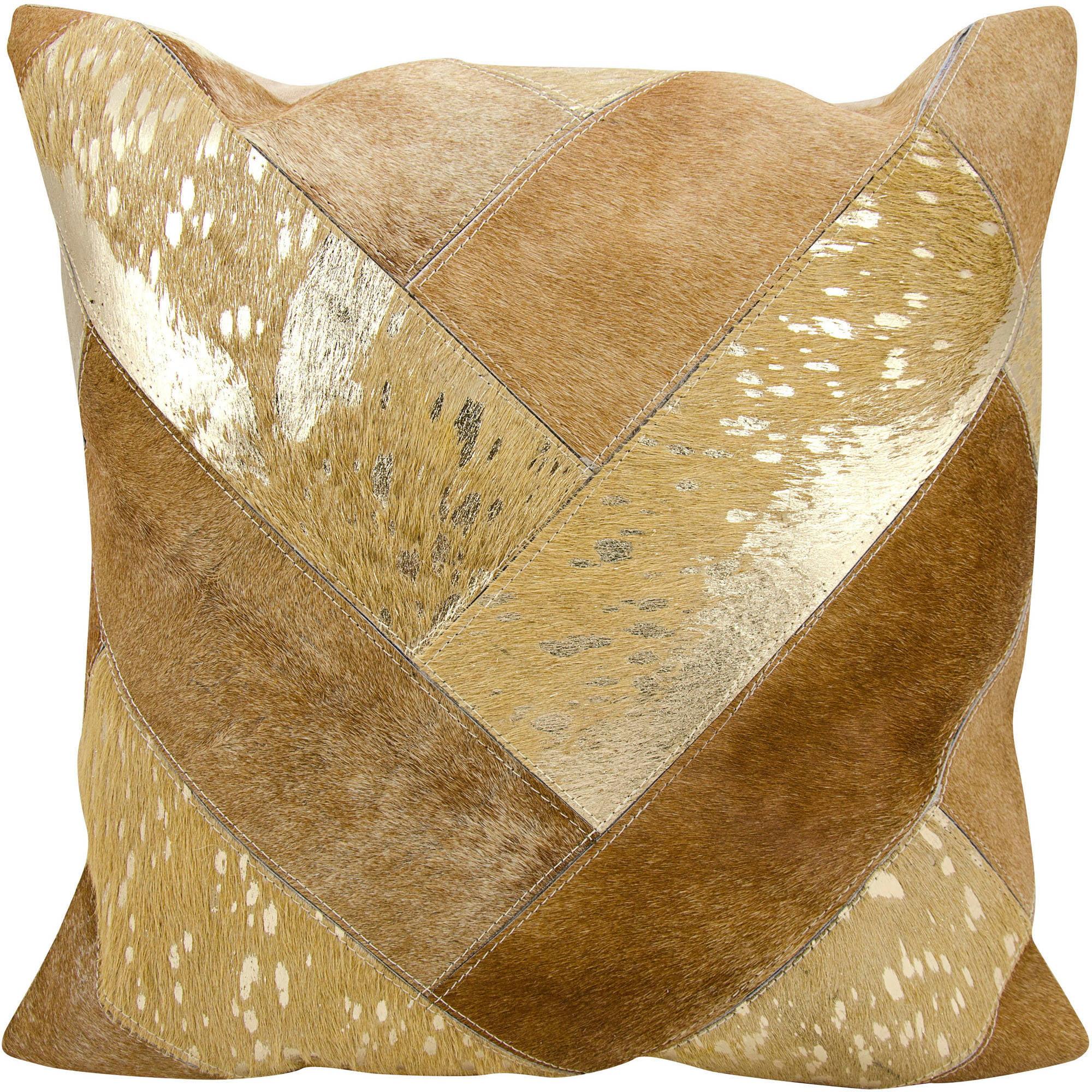 "Nourison Jersey Design Beige and Gold Pillow 20"" x 20"""