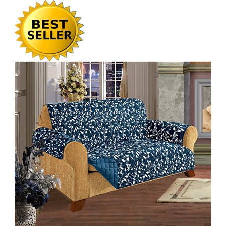 Fabulous Leaf Design Quilted Water Absorbent Microfiber Reversible Furniture Protector Slipcover Sofa Size Navy Blue Luxurious Reversible Quilted Longer Gmtry Best Dining Table And Chair Ideas Images Gmtryco