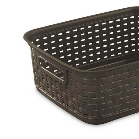 Sterilite Decorative Wicker-Style Short Weave Basket, Espresso (18 Pack) - image 4 de 6