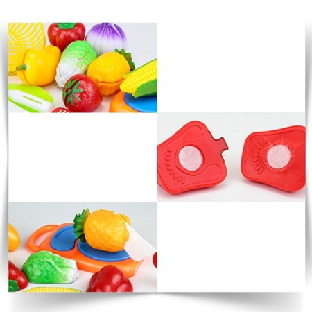 12pcs Children Cutting Fruits Vegetables Set Puzzle Pretend Play Toys as Gifts Color:12pcs/set - image 1 of 5