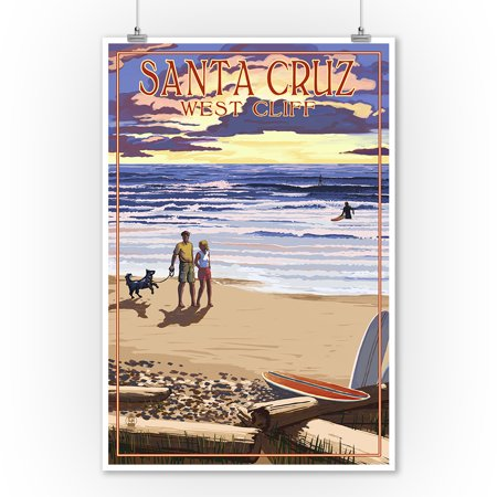 Santa Cruz, California - West Cliff Sunset Beach Scene - Lantern Press Poster (9x12 Art Print, Wall Decor Travel Poster) - Beach Lanterns