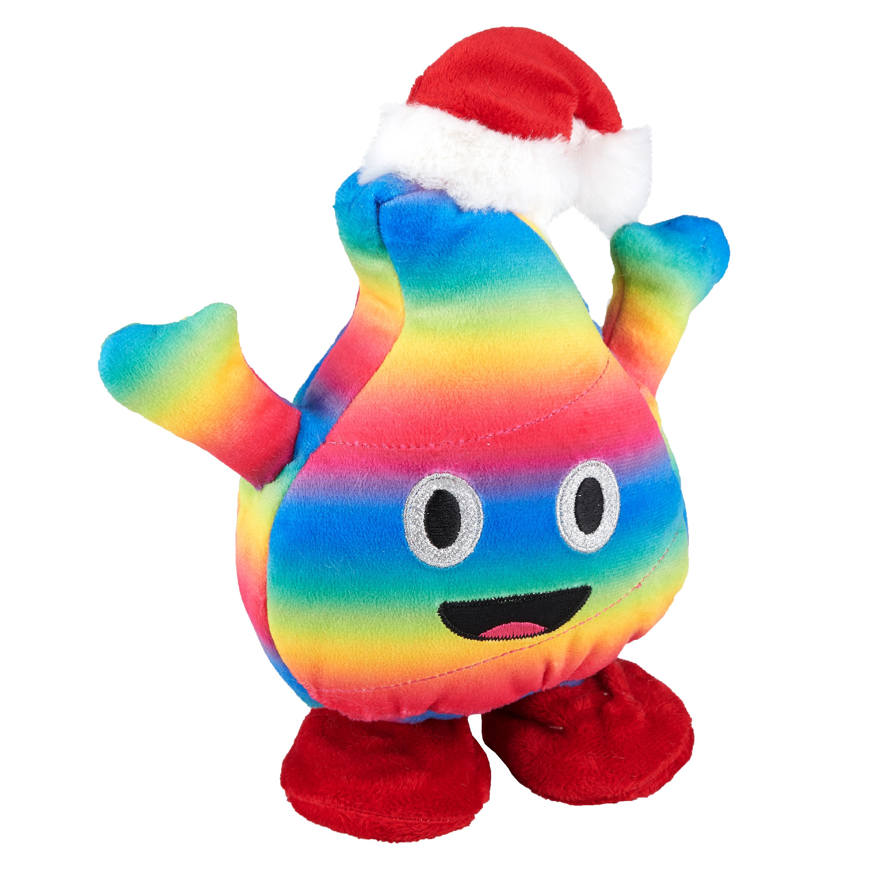 Holiday Time Fluffy Colorful Poop Emoji with Santa Hat, 8""