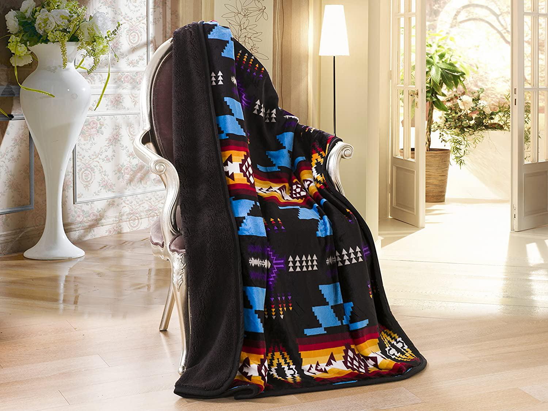 Sherpa Borrego Fleece Blanket 3 Piece Southwest Aztec Silky Soft Tan Set Gift