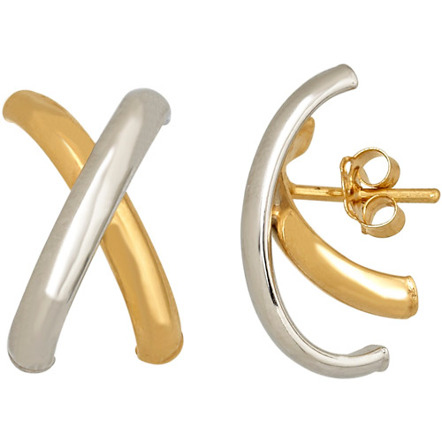 Simply Gold 14kt Yellow and White Gold X-Design Stud Earrings