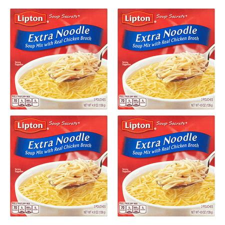 (4 Pack) Lipton Extra Noodle Soup Noodle Soup Mix, 4.9 oz