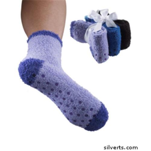 Silverts 192100101 Non Skid - Slip Grip Hospital Socks For Adult Women - 3 Pack - One, Pastel Pack