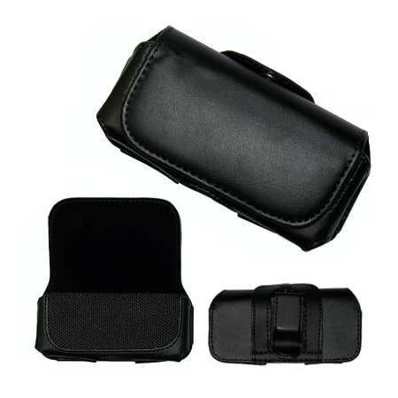 Leather Side Case Pouch (With Belt Clip and Belt Loop) + Custom Cut LCD Screen Protector for Verizon Wireless LG Glance (VX-7100 / UX-7100) [Accessory Export (7100 Screen)