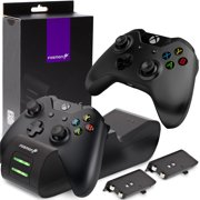 Fosmon Xbox One / One S / One X Controller Charger, [Dual Slot] Green LED Indicator High Speed Dual Conductive Docking / Quick Charging Station with 2 x 1000mAh Long Lasting Rechargeable Battery Packs