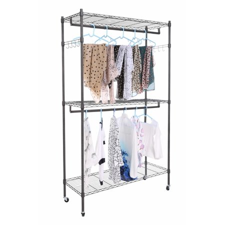 Christmas Day Clearance&Sale!!! Duty Wire Shelving Garment Rolling Rack Clothing Rack with Double Clothes Rods and Lockable Wheels,Clothes Hanger Home Shelf Up to 400lb