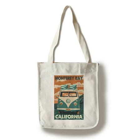 Monterey Bay  California   Vw Van   Letterpress   Lantern Press Artwork  100  Cotton Tote Bag   Reusable