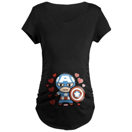CafePress - Captain America Hearts Maternity T-Shirt - Maternity Dark T-Shirt - Captain America T Shirt Womens