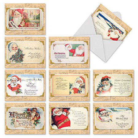 M10041XB CHRISTMASTIME RHYMES' 10 Assorted All Occasions Cards Feature Vintage Santa Postcards with Envelopes by The Best Card Company ()