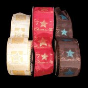 """Merry Christmas Gold and Red Star Holiday Wired Craft Ribbon 2.5"""" x 20 Yards"""