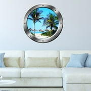 "VWAQ Palm Trees Wall Sticker Porthole Beach Scene Window Decal Wall Art Peel And Stick Decor - SP14 (20"" Diameter)"