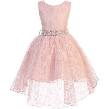 Little Girls Sleeveless Floral Lace Rhinestone High low Party Flower Girl Dress Blush Size 4 (J37K44)