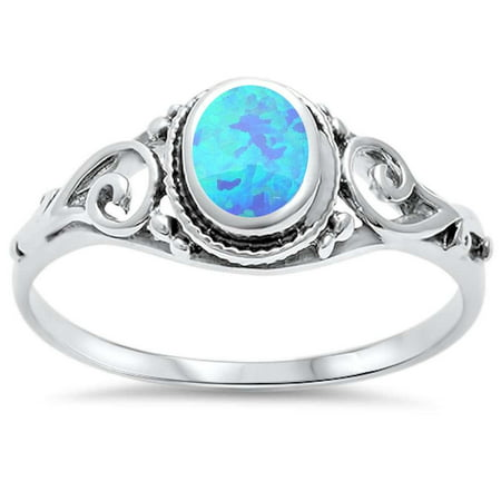 Blue Synthetic Opal Filigree Swirl Ring Sterling Silver Size