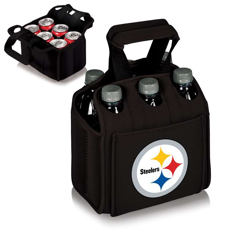 Pittsburgh Steelers - Six Pack Beverage Carrier by Picnic Time (Black)