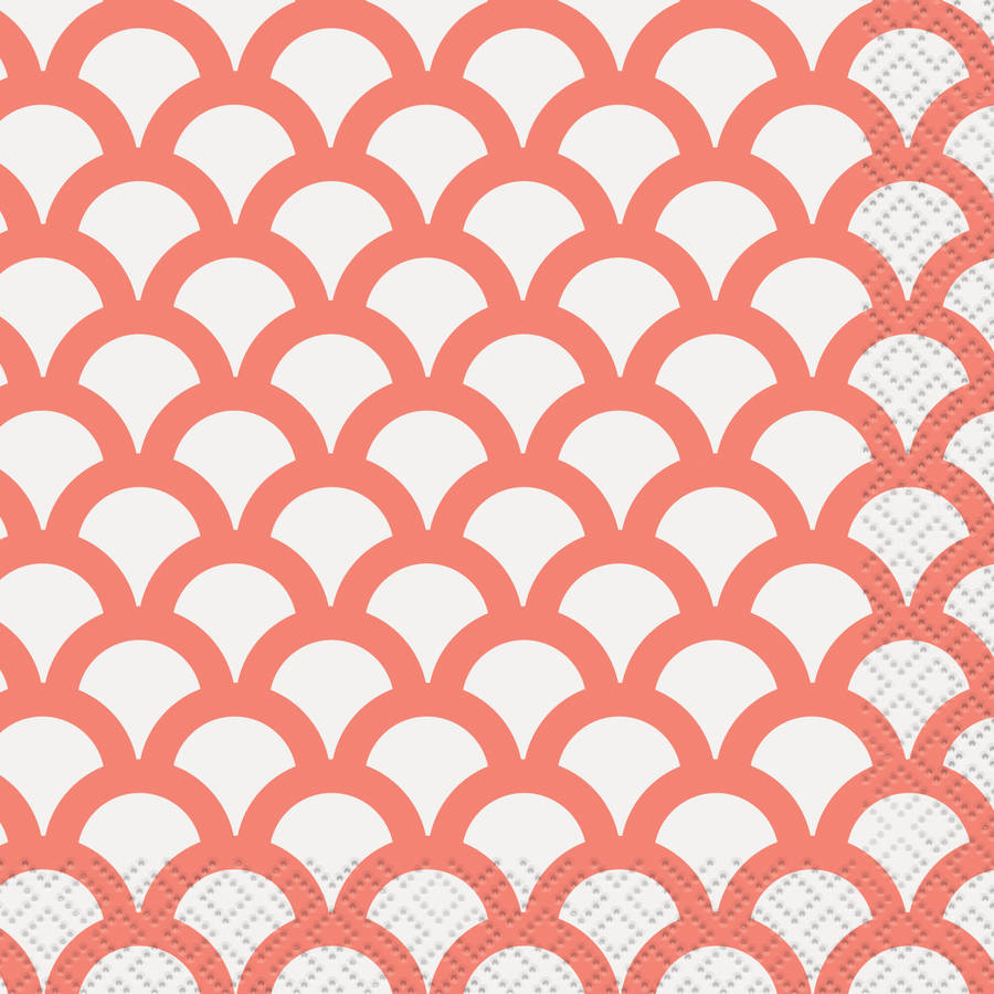 Coral Scallop Print Beverage Napkins, 16ct by Unique Industries